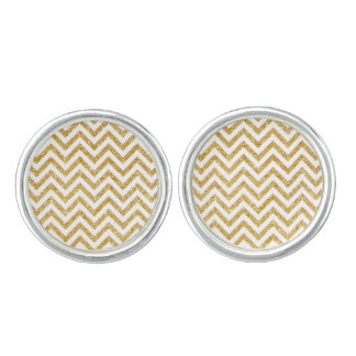 White Gold Glitter Zigzag Stripes Chevron Pattern Cuff Links