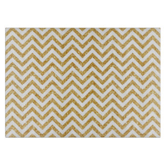 White Gold Glitter Zigzag Stripes Chevron Pattern Cutting Board