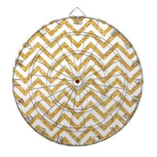 White Gold Glitter Zigzag Stripes Chevron Pattern Dartboard