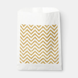 White Gold Glitter Zigzag Stripes Chevron Pattern Favour Bag