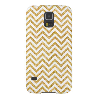 White Gold Glitter Zigzag Stripes Chevron Pattern Galaxy S5 Case