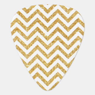 White Gold Glitter Zigzag Stripes Chevron Pattern Guitar Pick