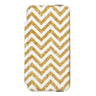 White Gold Glitter Zigzag Stripes Chevron Pattern Incipio Watson™ iPhone 5 Wallet Case