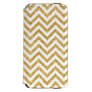 White Gold Glitter Zigzag Stripes Chevron Pattern Incipio Watson™ iPhone 6 Wallet Case