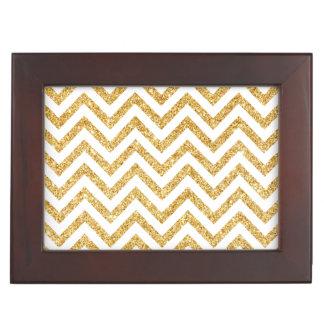 White Gold Glitter Zigzag Stripes Chevron Pattern Keepsake Box