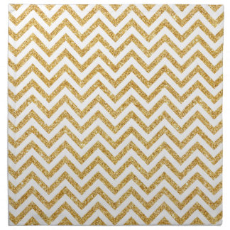 White Gold Glitter Zigzag Stripes Chevron Pattern Napkin
