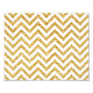 White Gold Glitter Zigzag Stripes Chevron Pattern Photo Print