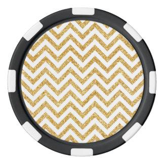 White Gold Glitter Zigzag Stripes Chevron Pattern Poker Chips