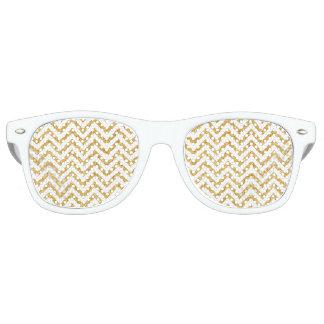 White Gold Glitter Zigzag Stripes Chevron Pattern Retro Sunglasses