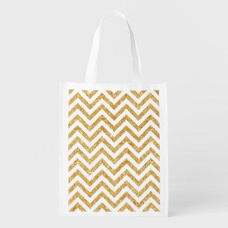 White Gold Glitter Zigzag Stripes Chevron Pattern Reusable Grocery Bag