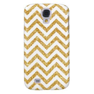 White Gold Glitter Zigzag Stripes Chevron Pattern Samsung Galaxy S4 Cover