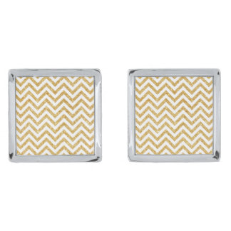 White Gold Glitter Zigzag Stripes Chevron Pattern Silver Finish Cufflinks
