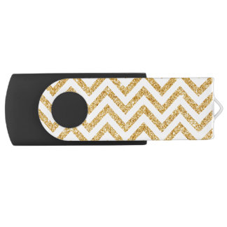 White Gold Glitter Zigzag Stripes Chevron Pattern USB Flash Drive