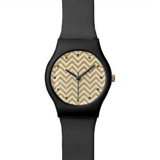 White Gold Glitter Zigzag Stripes Chevron Pattern Watches