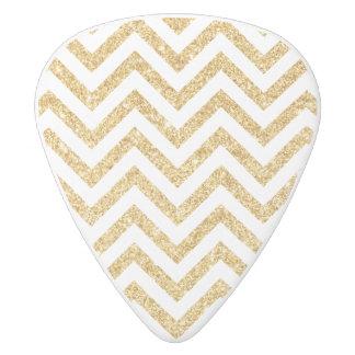 White Gold Glitter Zigzag Stripes Chevron Pattern White Delrin Guitar Pick