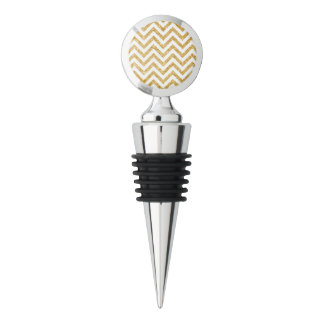 White Gold Glitter Zigzag Stripes Chevron Pattern Wine Stopper