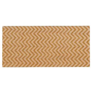 White Gold Glitter Zigzag Stripes Chevron Pattern Wood USB Flash Drive