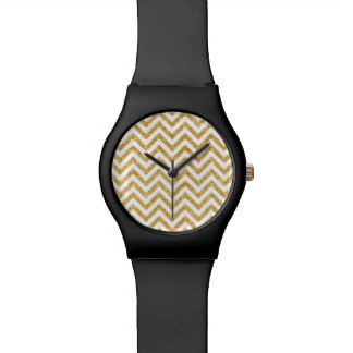White Gold Glitter Zigzag Stripes Chevron Pattern Wristwatch