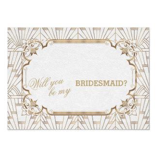 White Gold Great Gatsby Art Dec Wedding Bridesmaid Card