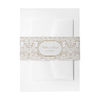 White Gold Great Gatsby Art Deco 1920s Wedding Invitation Belly Band
