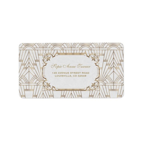 White Gold Great Gatsby Art Deco 1920s Wedding Label