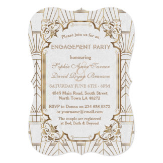 White Gold Great Gatsby Art Deco Engagement Party Card