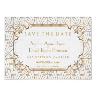 White Gold Great Gatsby Art Deco Save The Date Card