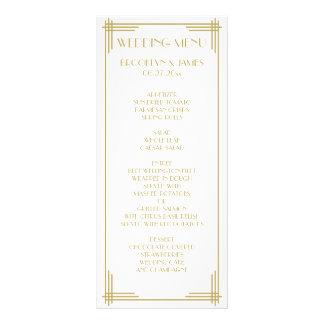 White Gold Great Gatsby Art Deco Wedding Menu Card Rack Card Template