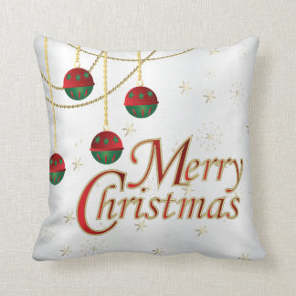 White, Gold, Green and Red Merry Christmas Cushion