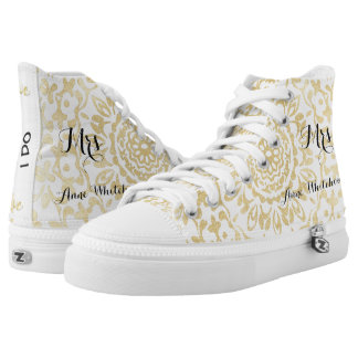 White Gold Lacy Print Personalized Brides Wedding High Tops