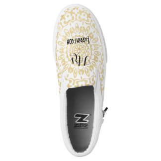 White Gold Lacy Print Personalized Brides Wedding Slip-On Shoes