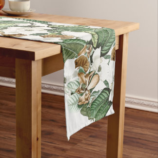 White Gold Magnolia Flower Blossoms Table Runner