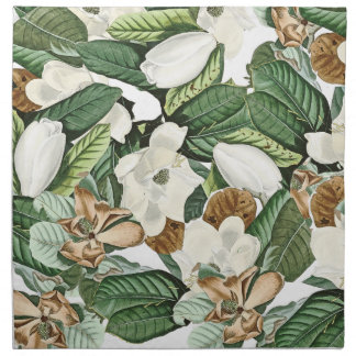 White Gold Magnolia Flowers Leaves Cloth Napkins