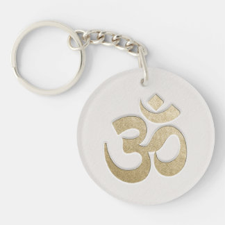 White & Gold OM Symbol YOGA Meditation Instructor Key Ring