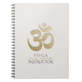 White & Gold OM Symbol YOGA Meditation Instructor Notebook