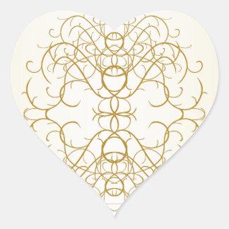 White Gold Ornate Fancy Pretty Embellishment Heart Heart Sticker
