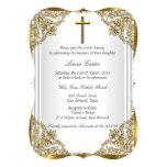 White Gold Pearl Damask Cross Baptism Christening 13 Cm X 18 Cm Invitation Card