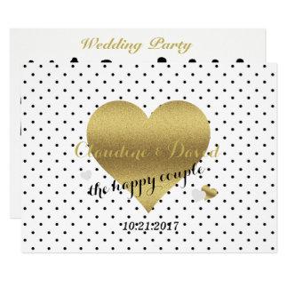 White & Gold Polka Dot Wedding Party Program Card
