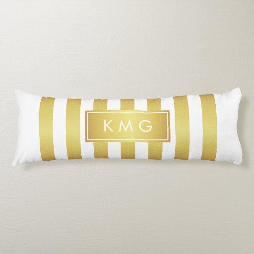 White Gold Polka Dots Stripes - Personalized Body Pillow