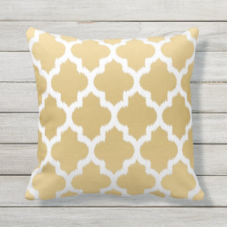 White & Gold Quatrefoil Ikat Geometric Pattern Outdoor Cushion
