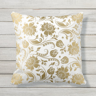 White & Gold Reversible Floral Vintage Pattern Outdoor Cushion