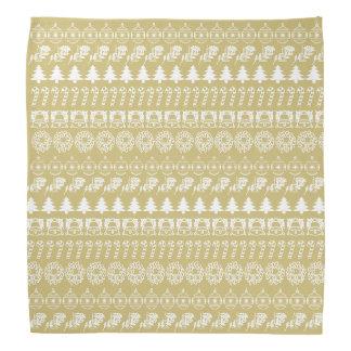 White/Gold Rows Christmas Font Art Pattern Bandana