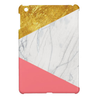 White Gold Salmon Marble iPad Mini Covers