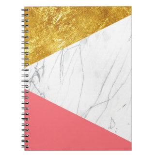 White Gold Salmon Marble Note Books
