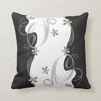 White, Gold, Silver, Black Floral Design Cushion