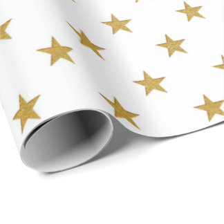 White Gold Stars Confetti Delicate US UK Wrapping Paper