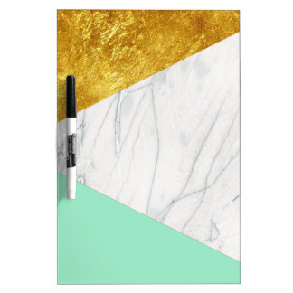 White Gold Teal Marble Dry-Erase Boards
