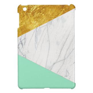 White Gold Teal Marble iPad Mini Case