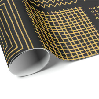 White & Gold Texture Cool Geometric Patterns Wrapping Paper