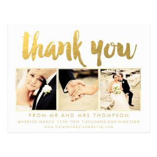 White Gold Thank You Script Typography Photo Postcard